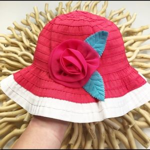 GIRLS GYMBOREE RED AND WHITE SUN HAT WITH BOW